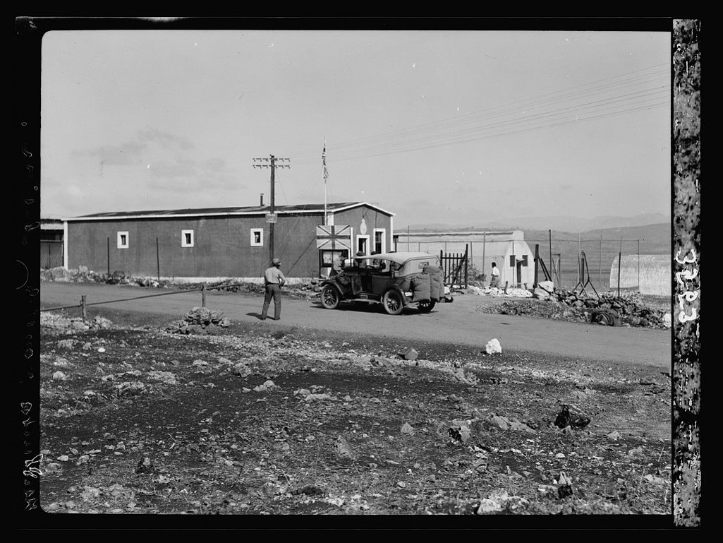 Metullah immigration and border control station on the Palestinian side of the frontier with Lebanon, circa late 1930s.